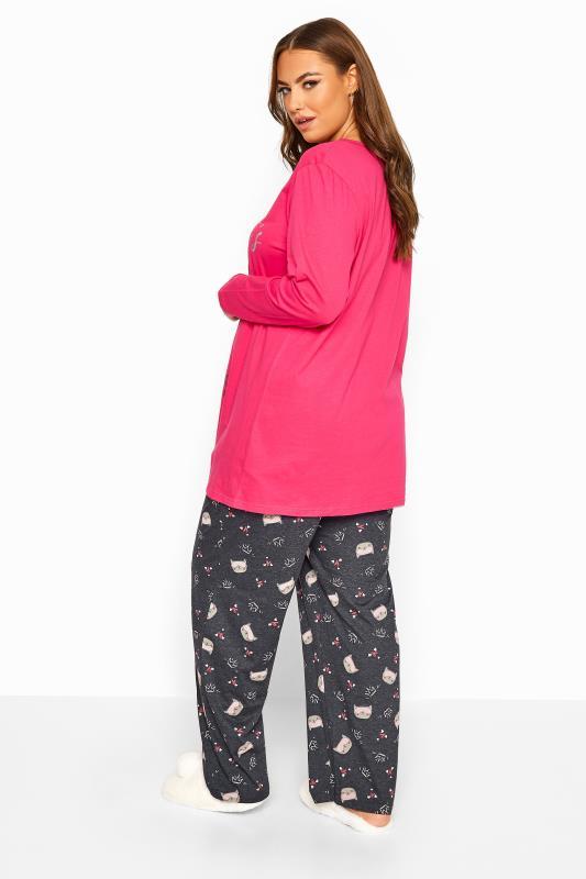 Pink Glitter Cat Pyjama Set