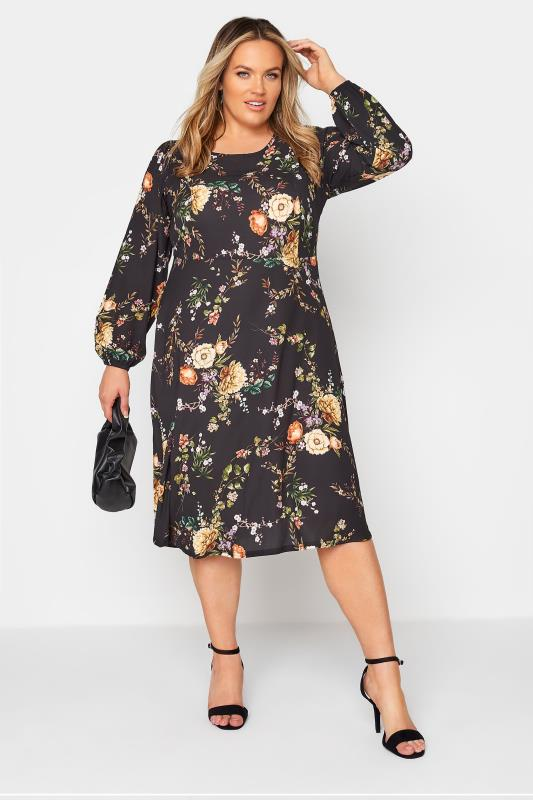 YOURS LONDON Black Blossom Midi Dress_B.jpg