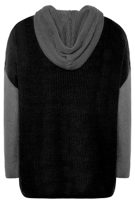 Grey Colour Block Oversized Knitted Hoodie_BK.jpg