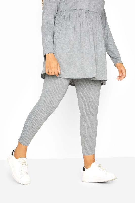 Plus Size  Grey Ribbed Co-ord Leggings