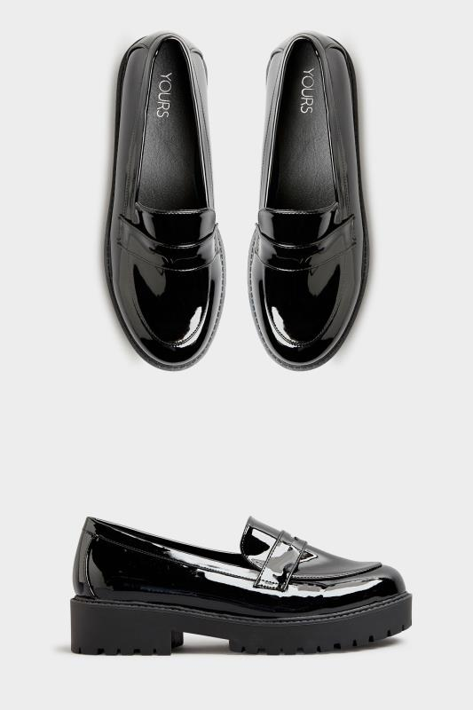 Black Patent Chunky Loafers In Extra Wide Fit_A.jpg