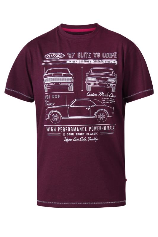 D555 Red Classic Cars Crew Neck Printed T-Shirt