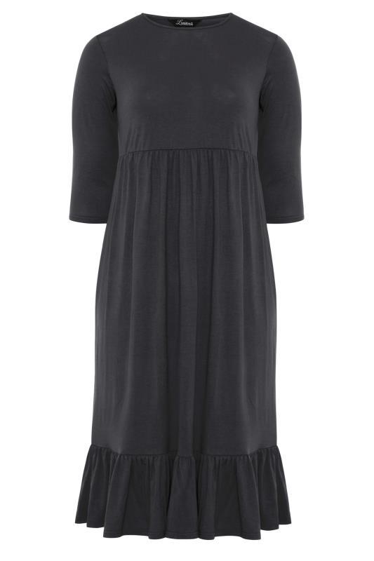 LIMITED COLLECTION Black Tiered Smock Sweatshirt Midi Dress