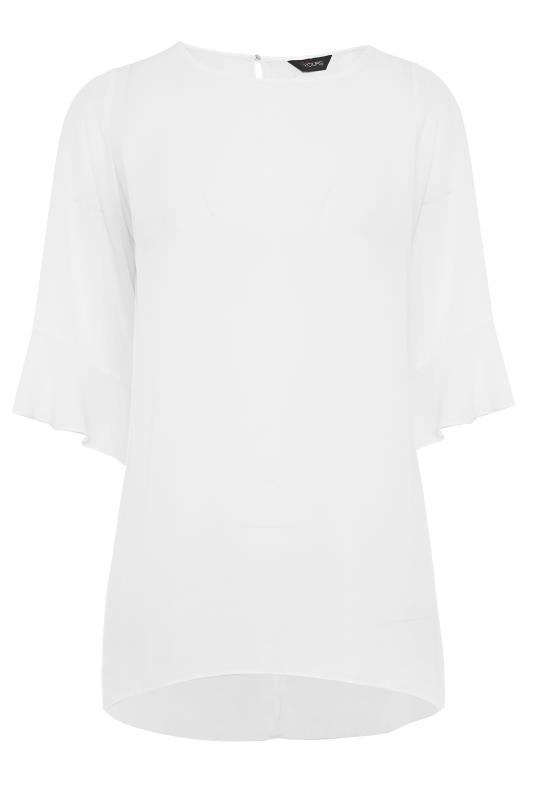 Plus Size  White Flute Sleeve Tunic