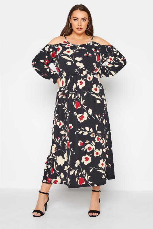 Plus Size  Black Floral Print Cold Shoulder Midaxi Dress
