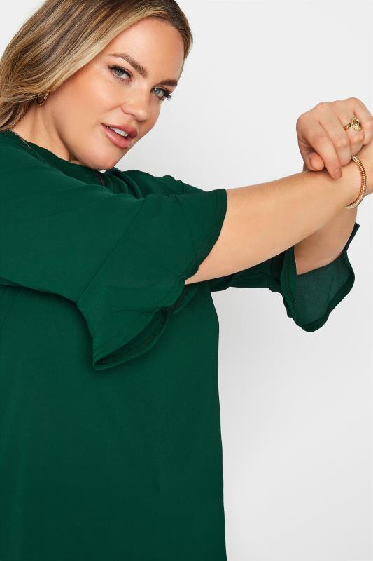 YOURS LONDON Forest Green Flute Sleeve Blouse_D.jpg