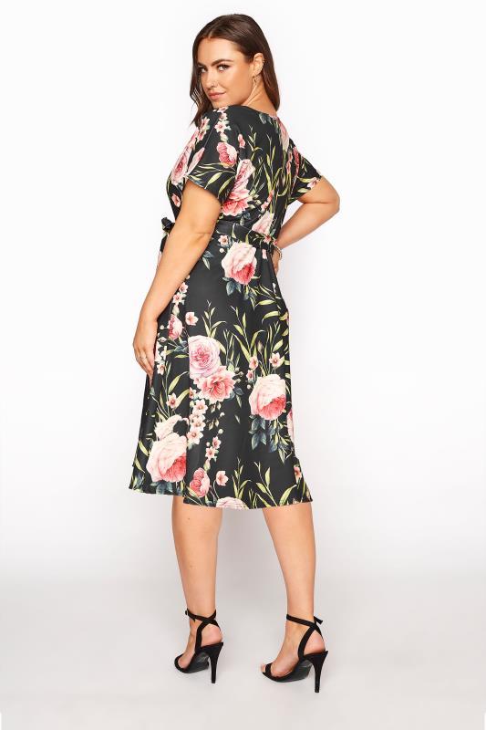 YOURS LONDON Black Floral Wrap Skater Dress_C.jpg