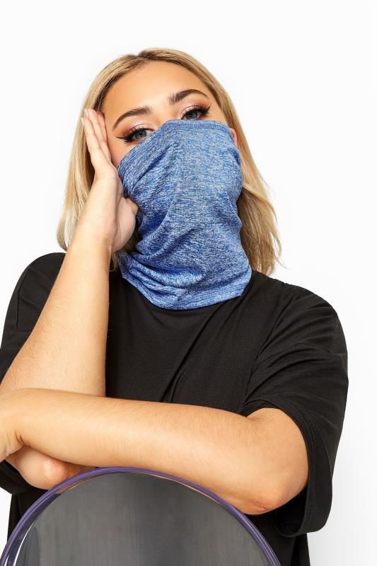 Plus Size  Blue Marl Snood Face Mask
