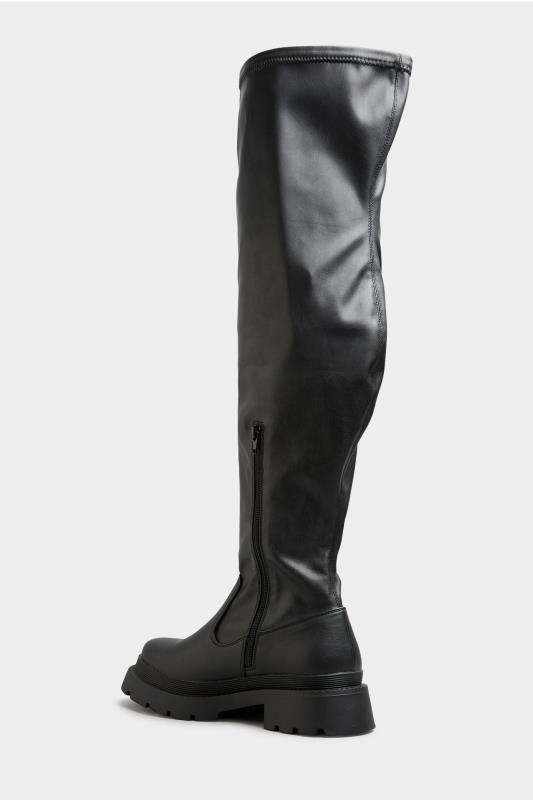 LIMITED COLLECTION Black Over The Knee Cleated Boots In Extra Wide Fit_C.jpg