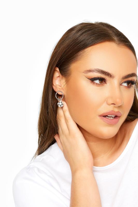 Plus Size  Silver Diamante Ball Hoop Earrings