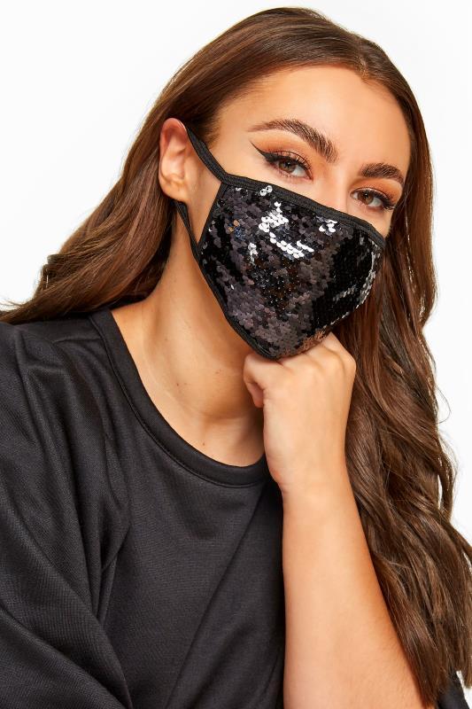 Face Masks Grande Taille Black Sequin Face Mask