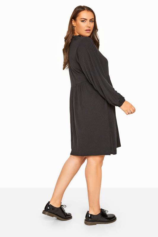 Black Ribbed Frill Neck Peplum Dress