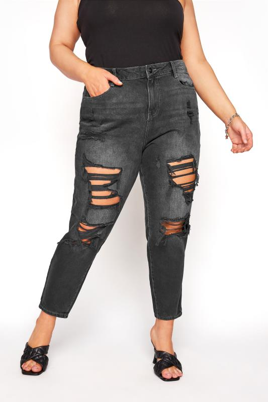 Plus Size  Black Extreme Distressed MOM Jeans