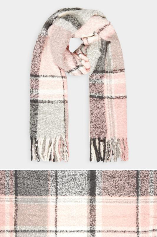 Yours Pink & Grey Soft Boucle Check Scarf