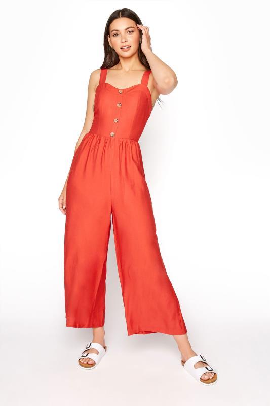 LTS Red Button Front Crop Jumpsuit