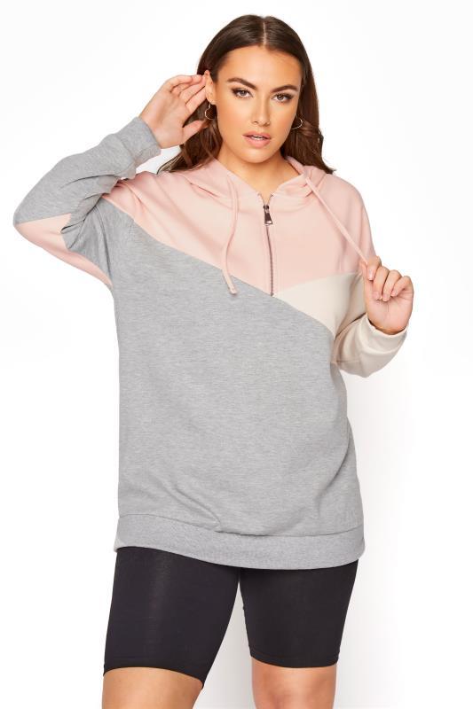 Grey Colourblock Zip Hoodie