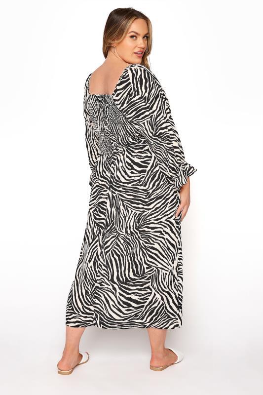 YOURS LONDON Black Zebra Print Shirred Front Midaxi Dress_C.jpg
