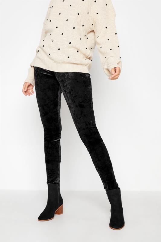 Tall  LTS Black Crushed Velvet Leggings