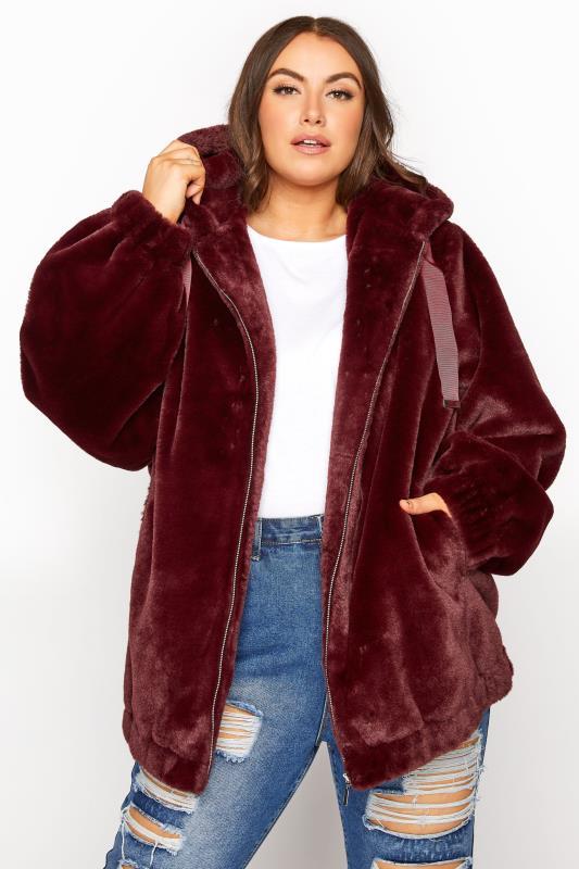 Grande Taille Burgundy Faux Fur Oversized Jacket
