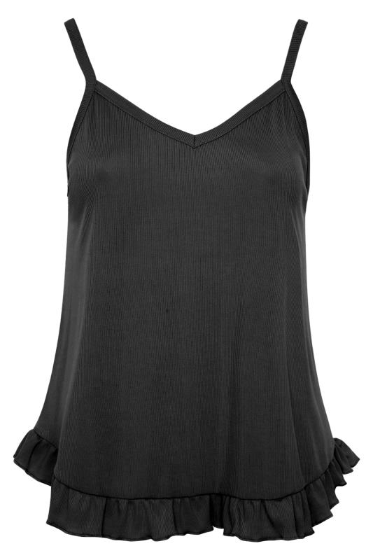 LIMITED COLLECTION Black Frill Ribbed Pyjama Top_F.jpg