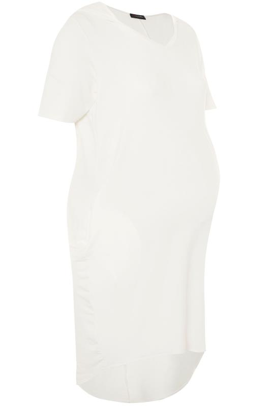 BUMP IT UP MATERNITY Cream Hooded Jersey Dress
