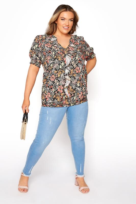YOURS LONDON Black Floral Shirred Frill Top_B.jpg