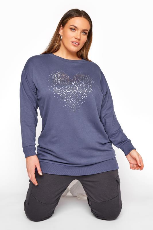 Plus Size  Navy Foil Heart Sweatshirt