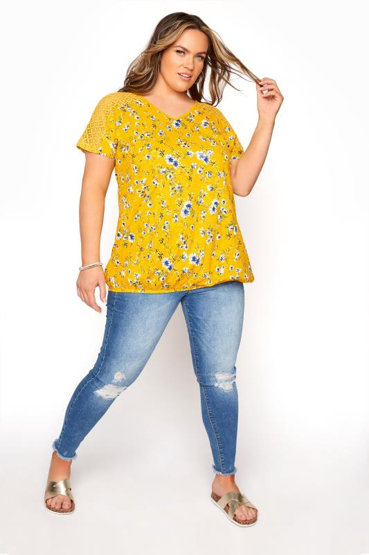 Yellow Floral Lace Sleeve Bubble Hem Top