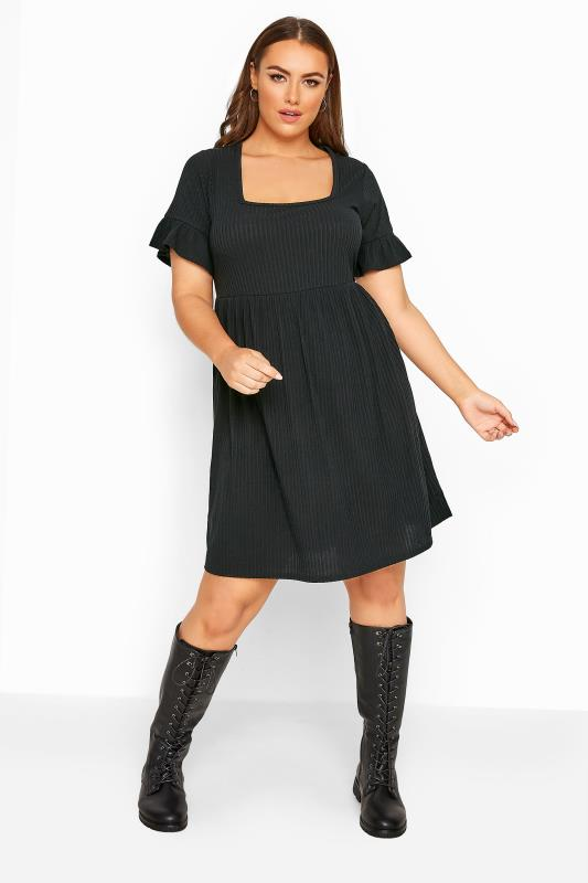 LIMITED COLLECTION Black Ribbed Flare Sleeve Smock Dress