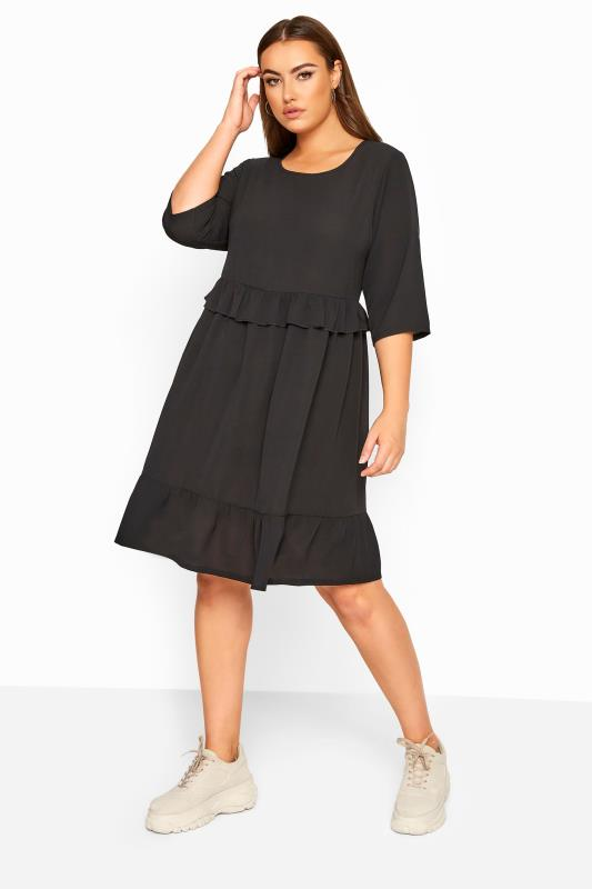 Plus Size Black Dresses LIMITED COLLECTION Black Frill Smock Dress
