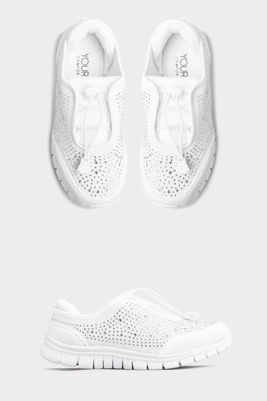 Yours White Diamante Embellished Trainer in Extra Wide Fit