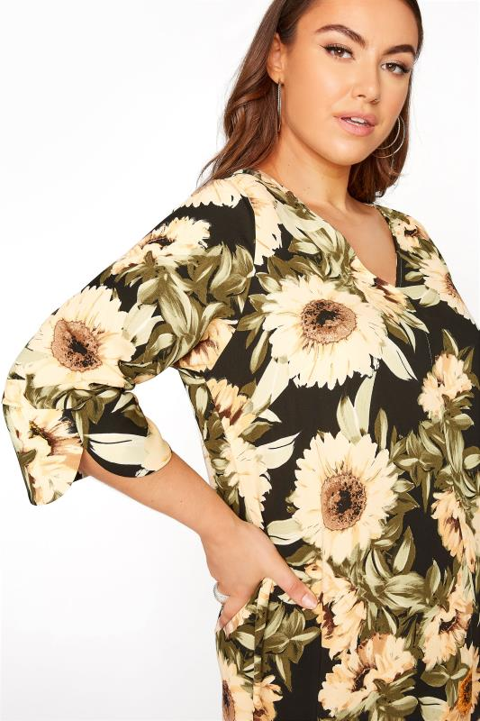 Black Sunflower V-Neck Shift Dress_D.jpg