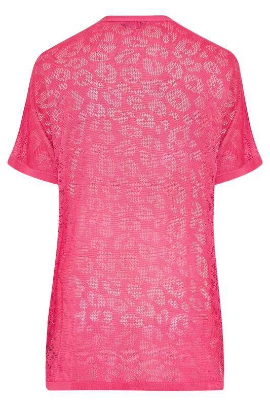 Pink Knitted Pointelle Leopard Print Cardigan_BK.jpg
