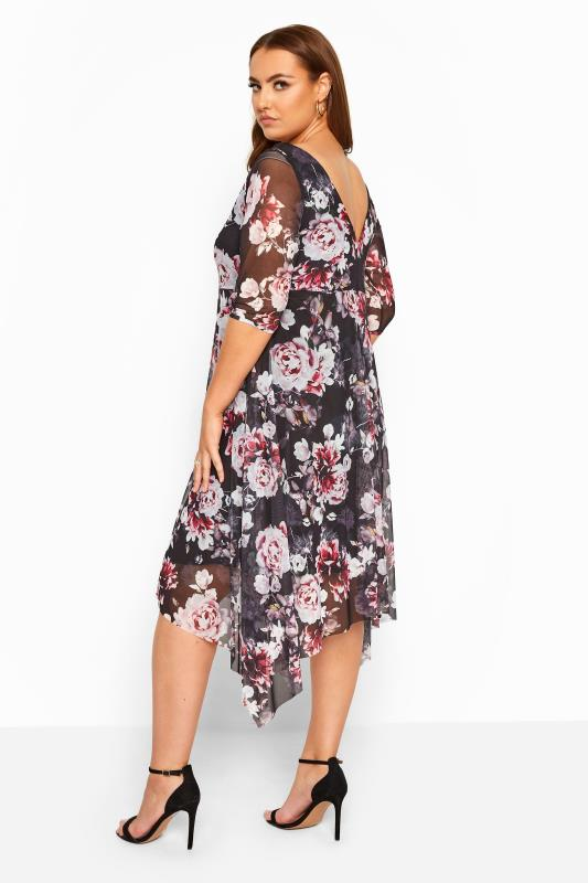 Black & Pink Floral Cowl Neck Mesh Dress