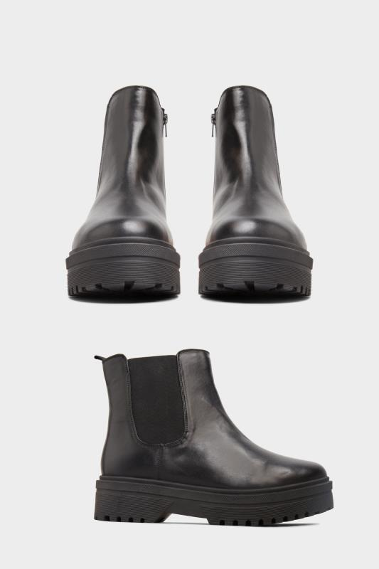 LIMITED COLLECTION Black Vegan Faux Leather Platform Chelsea Boots In Extra Wide Fit