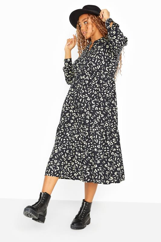 Plus Size  Black Animal Markings Midi Shirt Dress