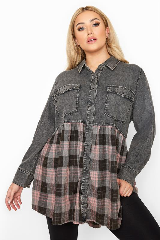 Plus Size  Grey Denim Check Mix Smock Shirt