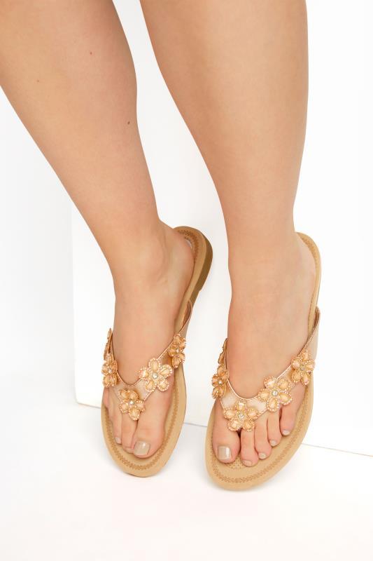Plus Size  Rose Gold Flower Gem Sandals in Regular Fit