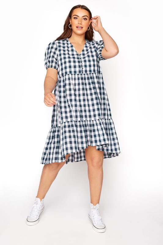 Plus Size  LIMITED COLLECTION Denim Blue Gingham Smock Dress