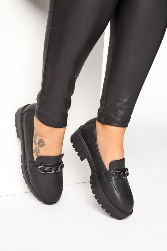 Plus Size  LIMITED COLLECTION Black Chunky Loafers In Extra Wide Fit