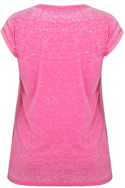 Westrock Bay Pink Burnout Slogan Print T-shirt
