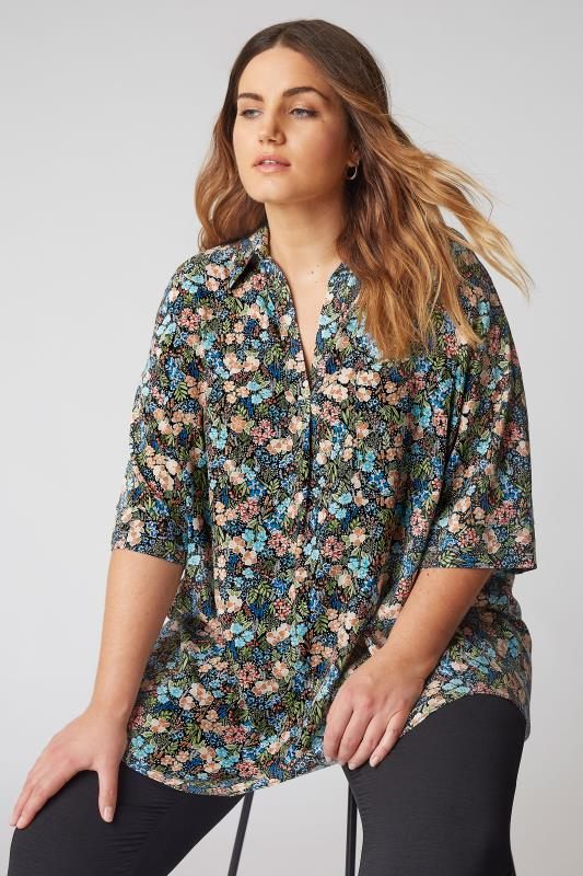 THE LIMITED EDIT Black Multi Floral Pleated Front Top_A.jpg