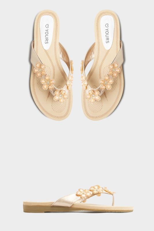 Yours Rose Gold Flower Gem Sandals in Regular Fit