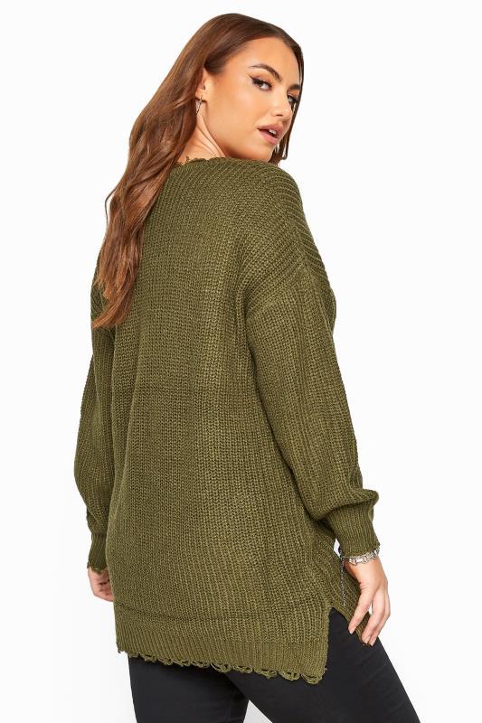 Khaki Distressed Knitted Jumper
