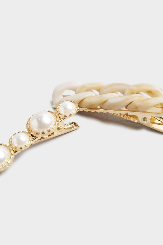 2 PACK Stone Tortoiseshell and Pearl Hair Clips_B.jpg