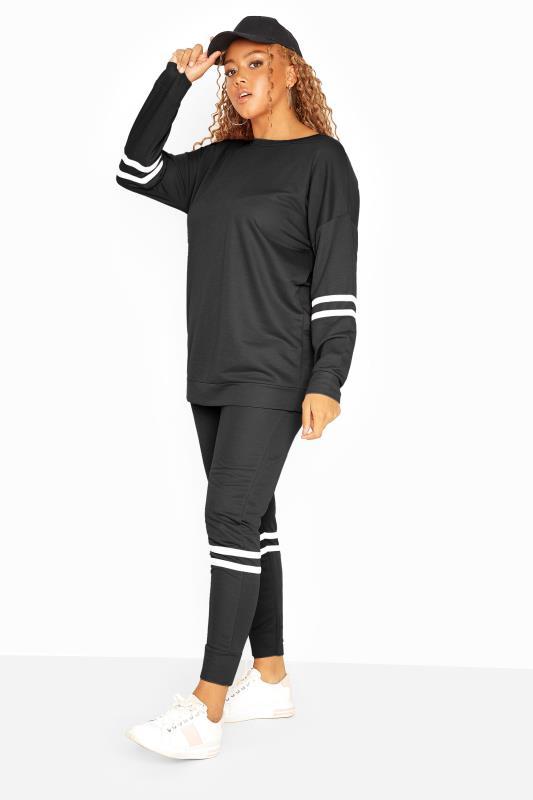 Black Varsity Stripes Sweatshirt