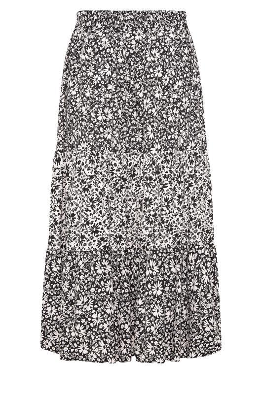 THE LIMITED EDIT Black Floral Tiered Smock Maxi Skirt_BK.jpg
