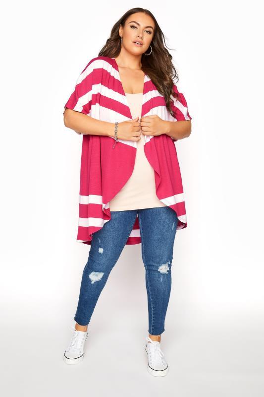 Bright Pink Stripe Waterfall Front Cardigan