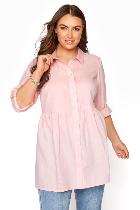 Pink Chambray Peplum Shirt