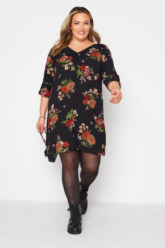 Black Oriental Floral Print V-Neck Shift Dress_A.jpg